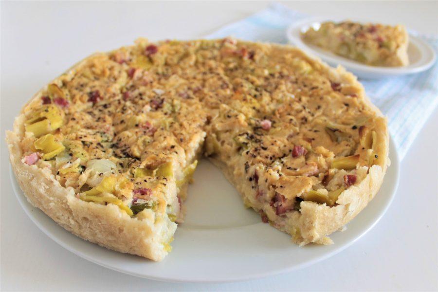 Glutenvrije, lactosevrije en eivrije quiche of hartige taart
